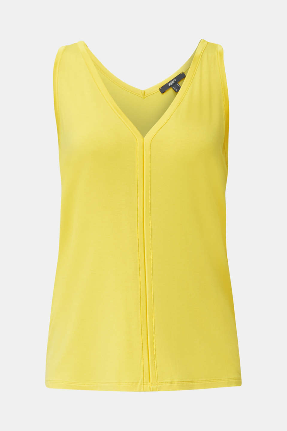 Stretchy tank top with satin details, YELLOW, detail image number 7