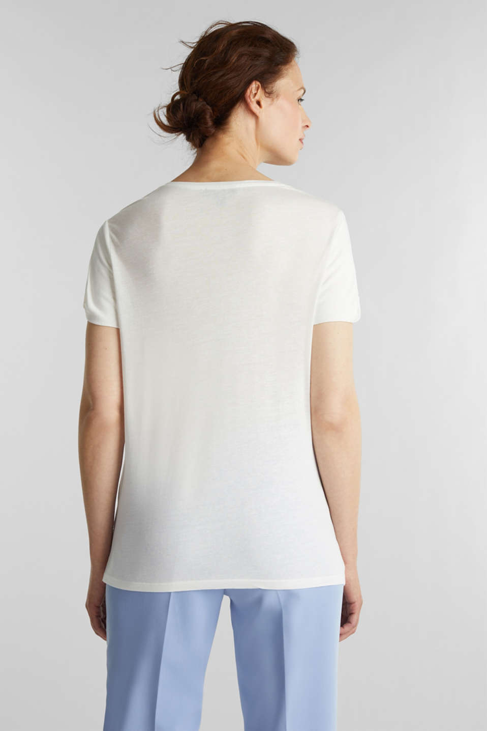 With linen: print top, WHITE, detail image number 3