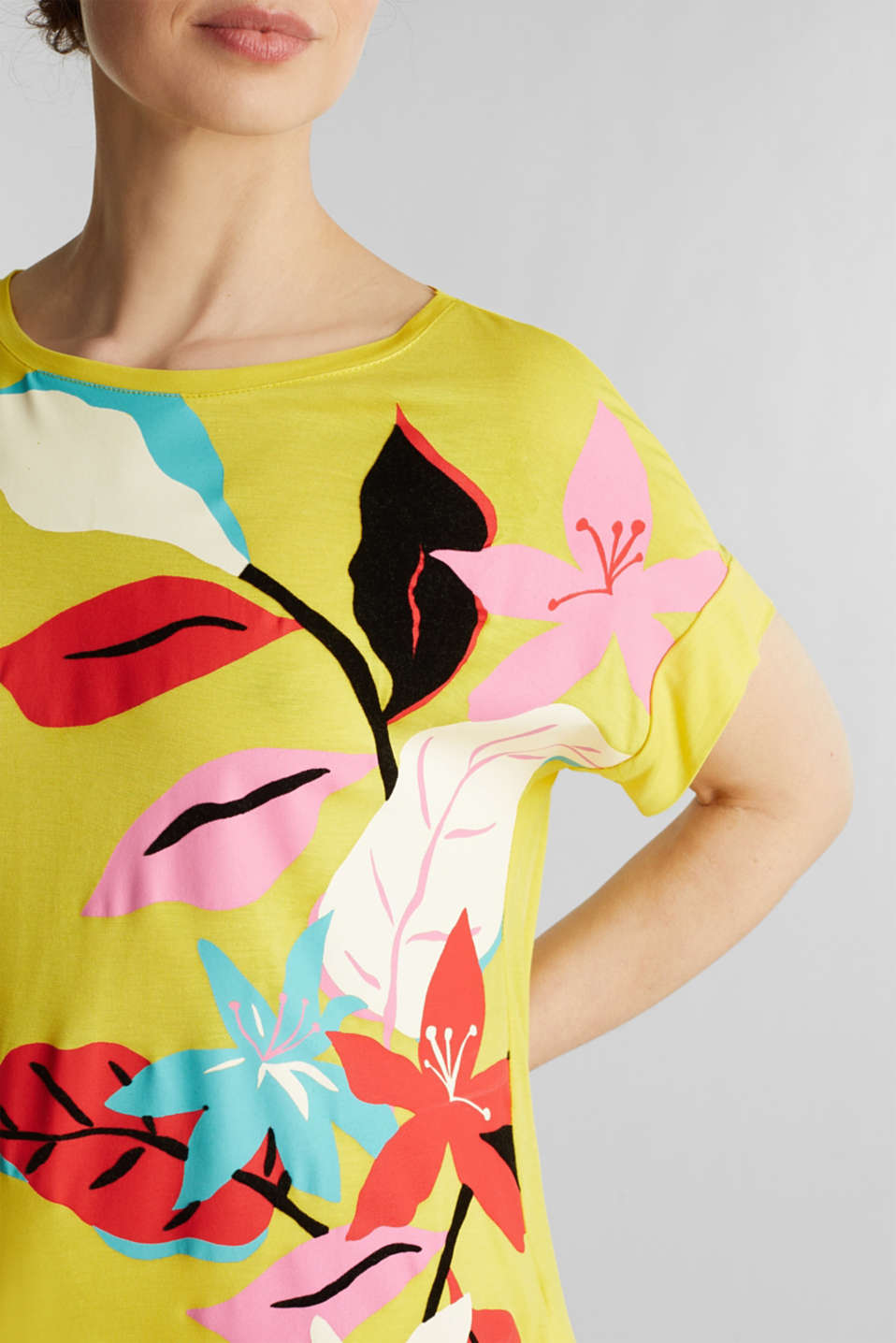 T-shirt with a floral print, YELLOW, detail image number 2