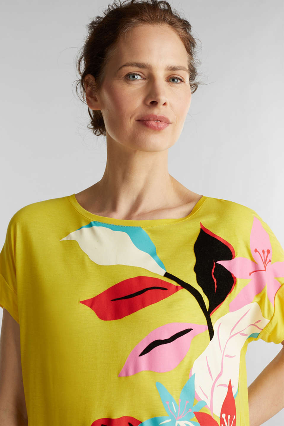 T-shirt with a floral print, YELLOW, detail image number 5