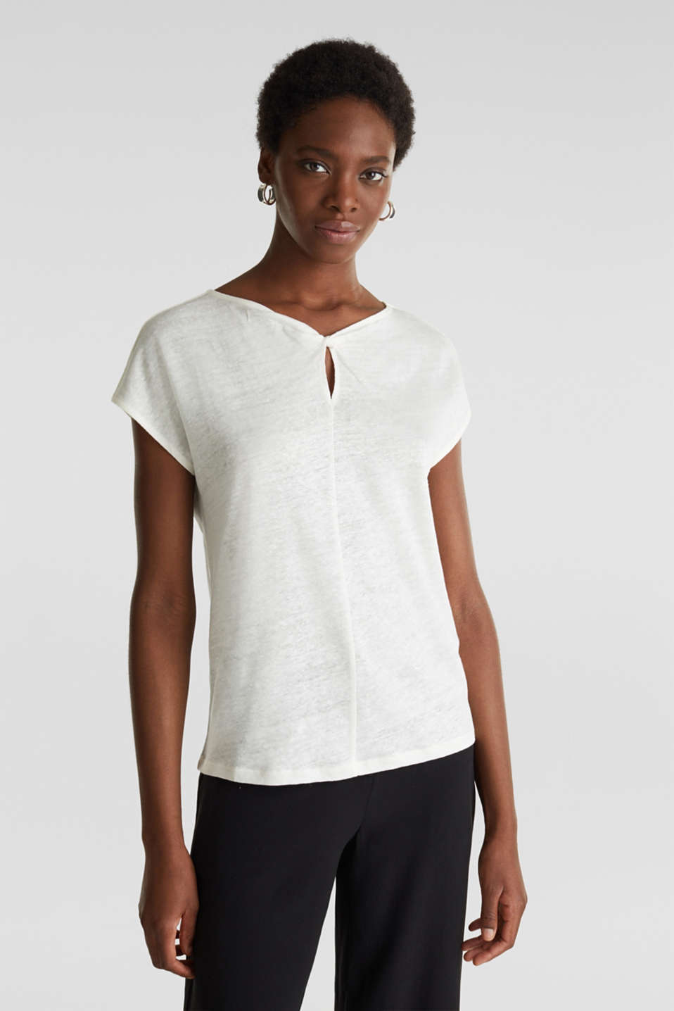 Made of linen: Draped top, OFF WHITE, detail image number 0