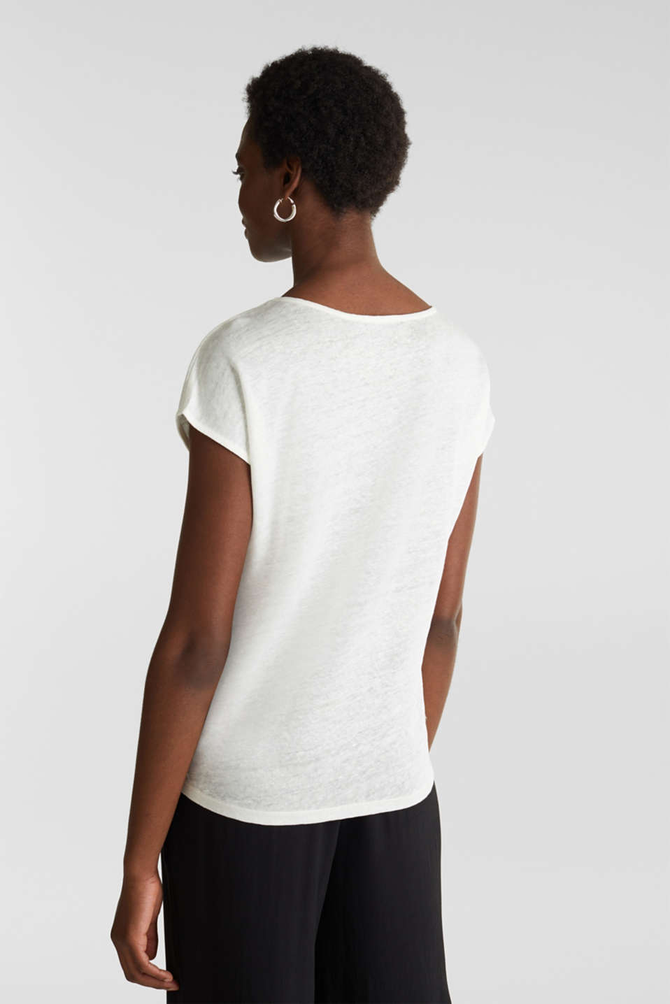 Made of linen: Draped top, OFF WHITE, detail image number 2