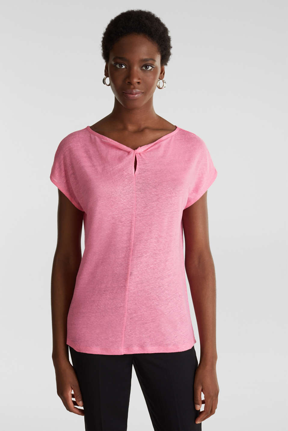 Esprit - Made of linen: Draped top