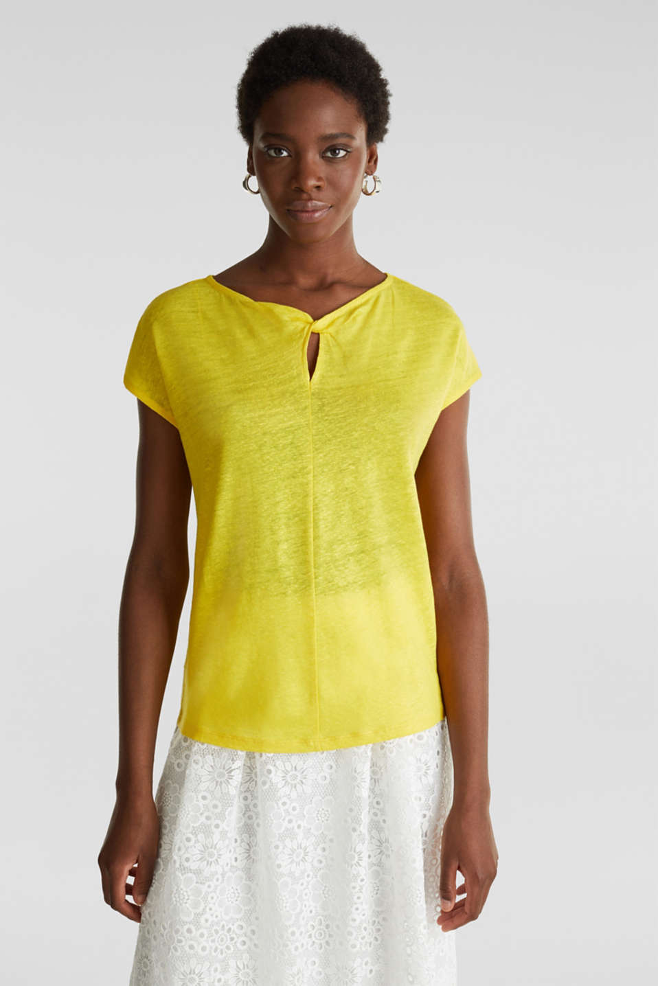Made of linen: Draped top, YELLOW, detail image number 0