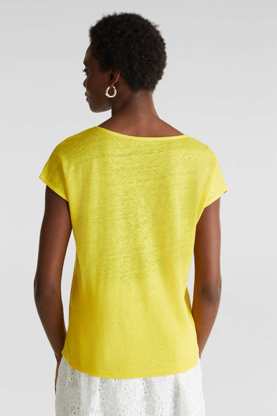 Made of linen: Draped top, YELLOW, detail image number 3