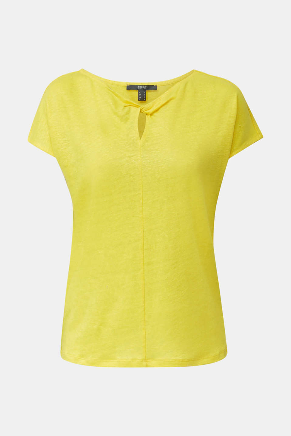 Made of linen: Draped top, YELLOW, detail image number 6
