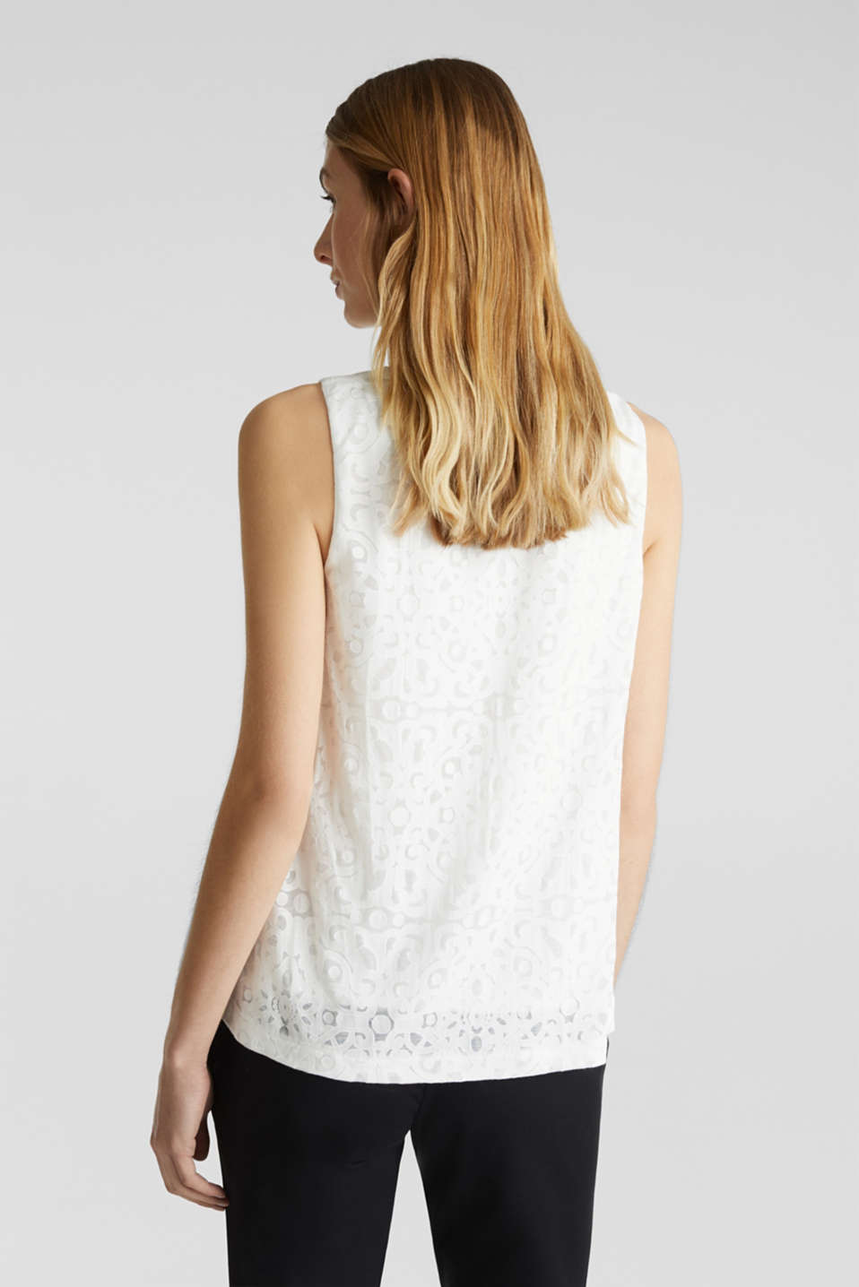 Blouse top with an ornamental pattern, OFF WHITE, detail image number 3
