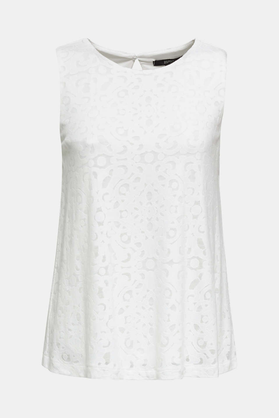 Blouse top with an ornamental pattern, OFF WHITE, detail image number 6