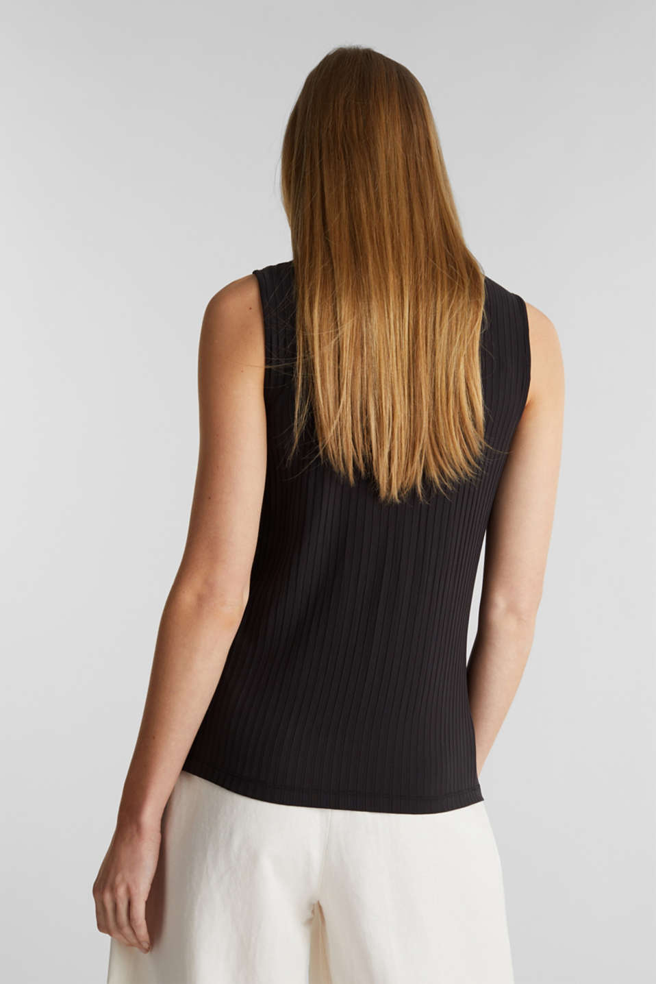 Sleeveless ribbed top with band collar, BLACK, detail image number 3
