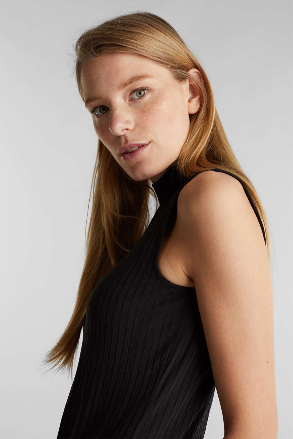 Sleeveless ribbed top with band collar, BLACK, detail image number 2