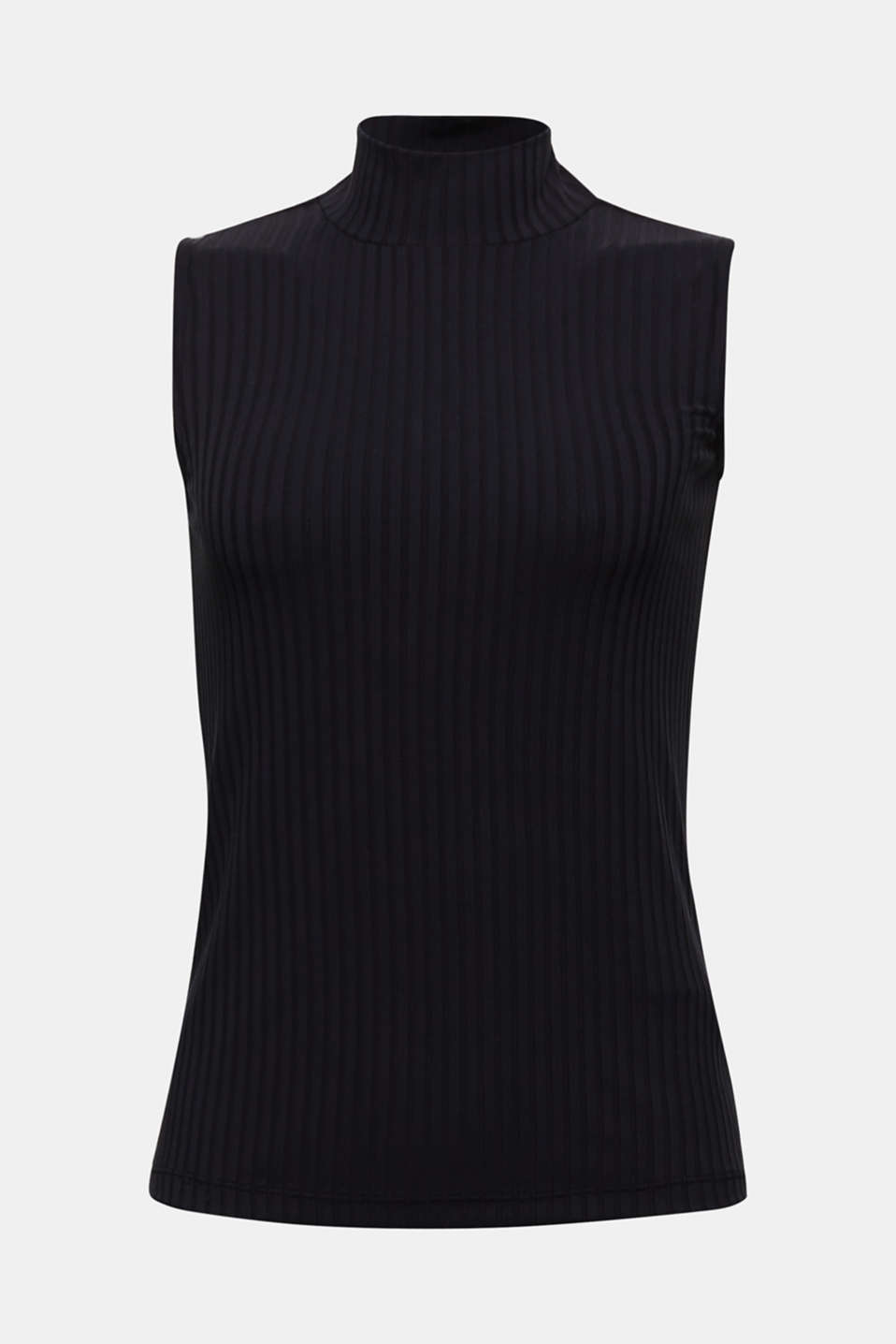 Sleeveless ribbed top with band collar, BLACK, detail image number 6