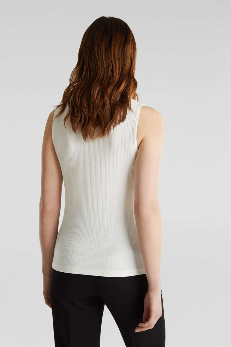Sleeveless ribbed top with band collar, OFF WHITE, detail image number 3