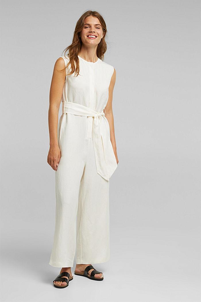 Linen blend: Jumpsuit with a wide leg
