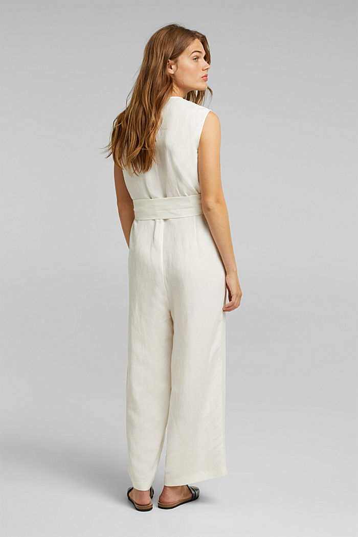Linen blend: Jumpsuit with a wide leg, OFF WHITE, detail image number 3