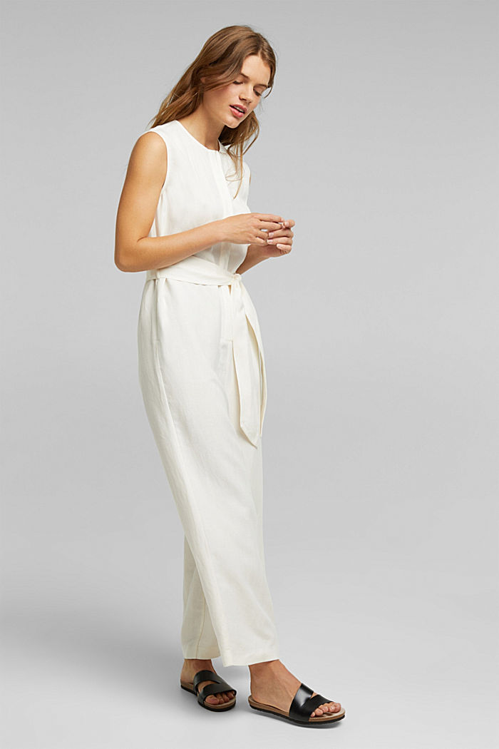 Linen blend: Jumpsuit with a wide leg, OFF WHITE, detail image number 1
