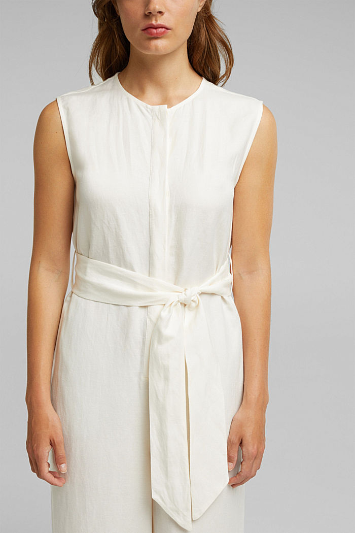 Linen blend: Jumpsuit with a wide leg, OFF WHITE, detail image number 2