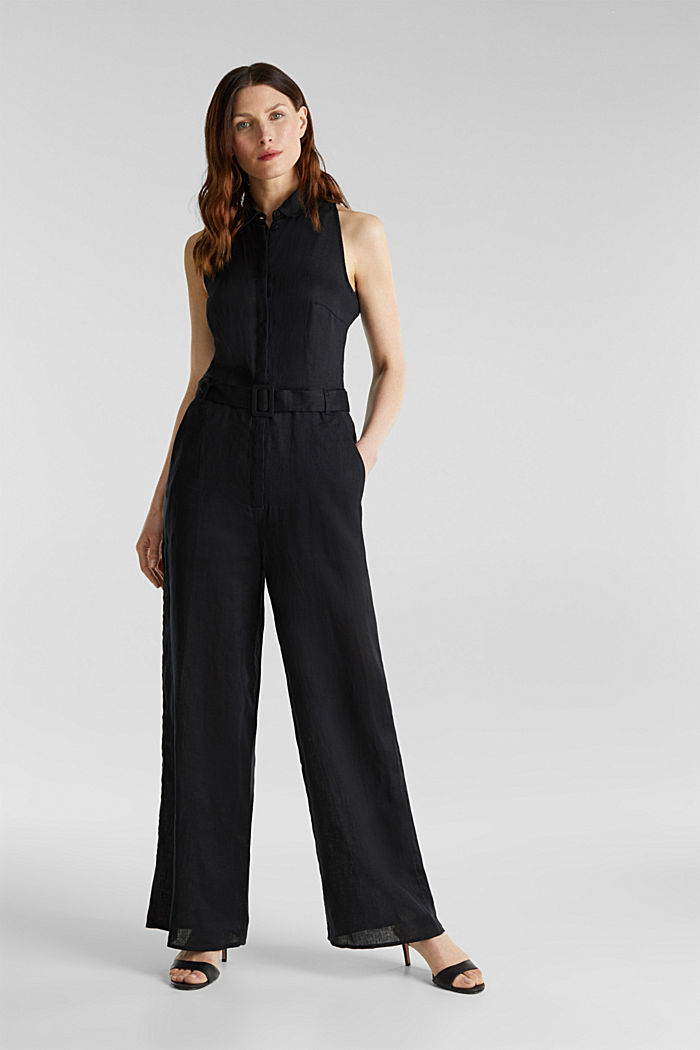 Made of linen: Jumpsuit with a wide leg, BLACK, detail image number 0
