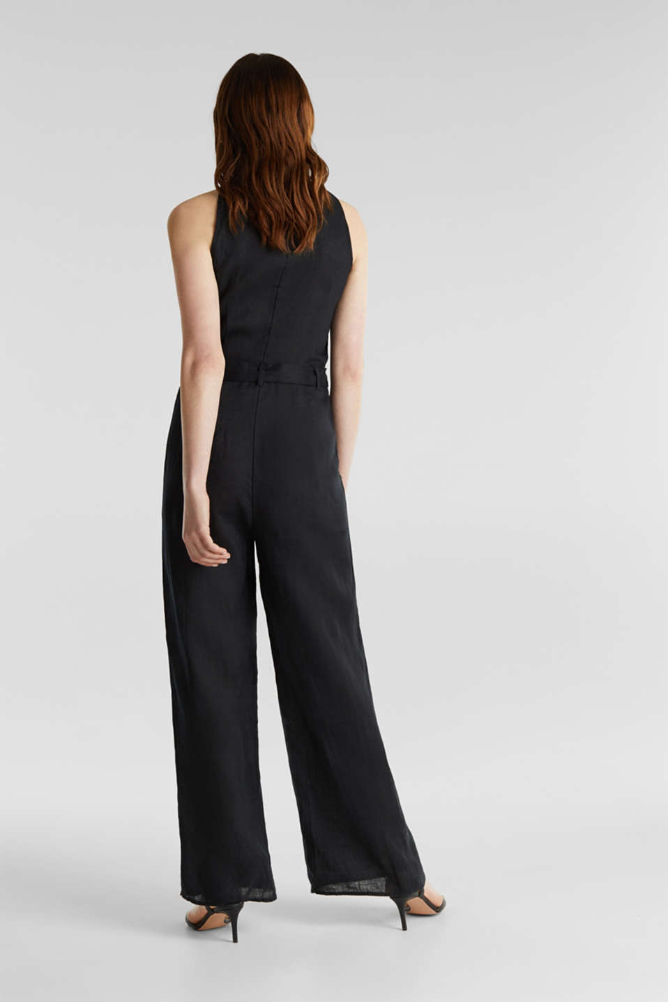 Made of linen: Jumpsuit with a wide leg, BLACK, detail image number 3