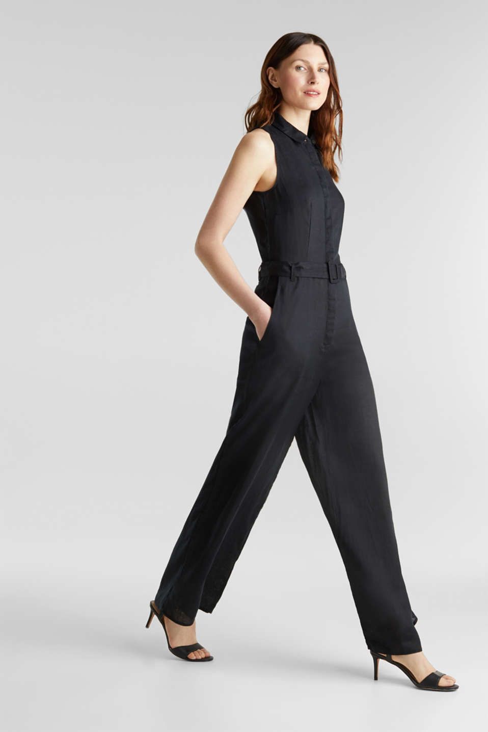 Made of linen: Jumpsuit with a wide leg, BLACK, detail image number 1