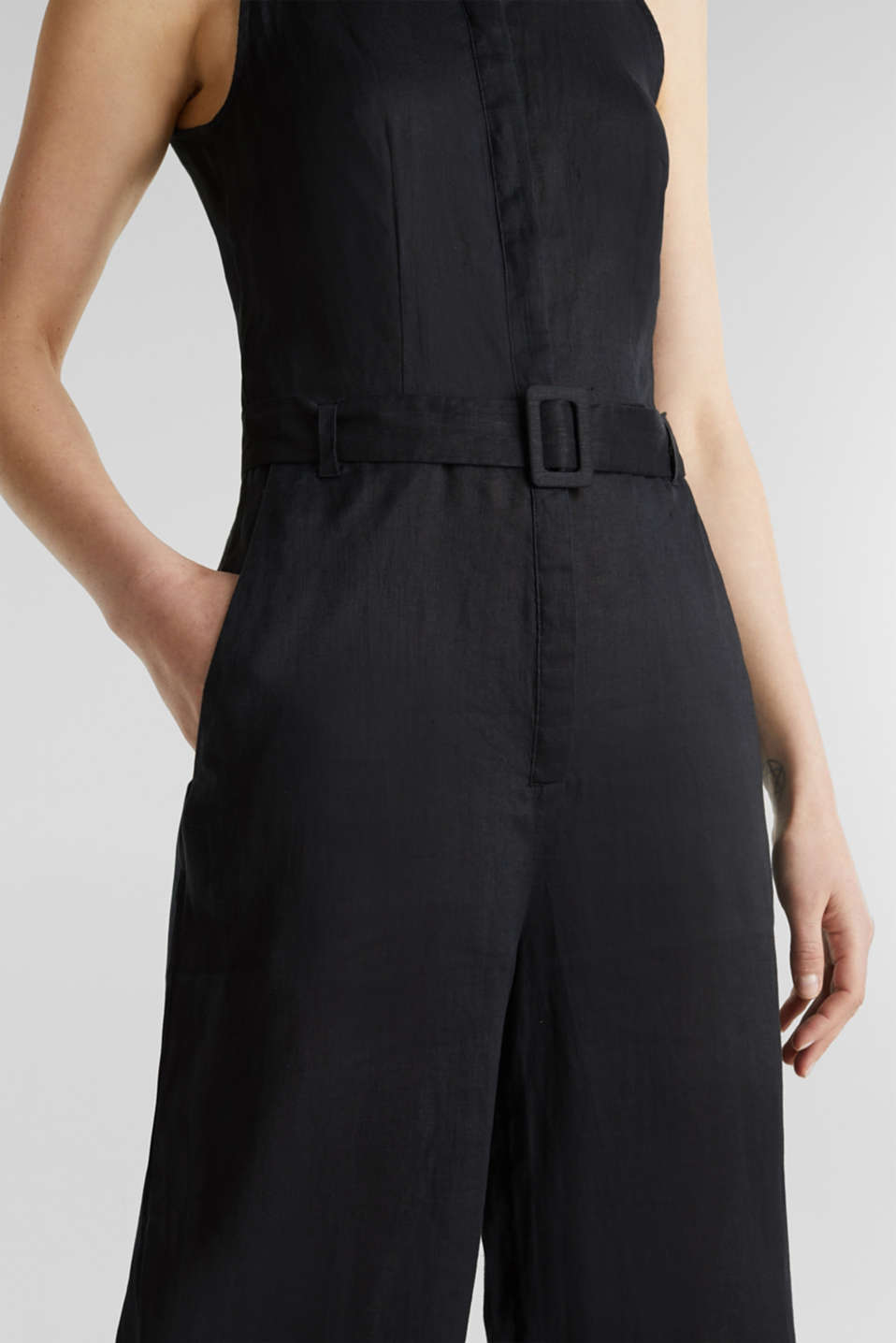 Made of linen: Jumpsuit with a wide leg, BLACK, detail image number 2