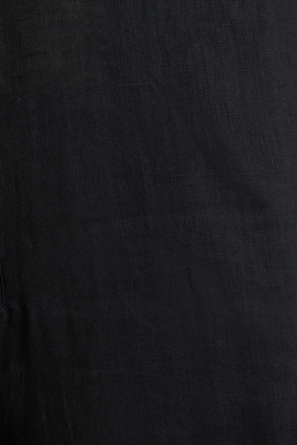 Made of linen: Jumpsuit with a wide leg, BLACK, detail image number 4