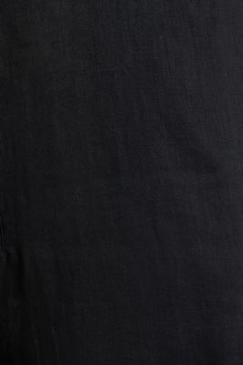 Made of linen: Jumpsuit with a wide leg, BLACK, detail