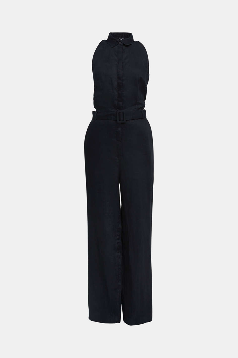 Made of linen: Jumpsuit with a wide leg, BLACK, detail image number 6
