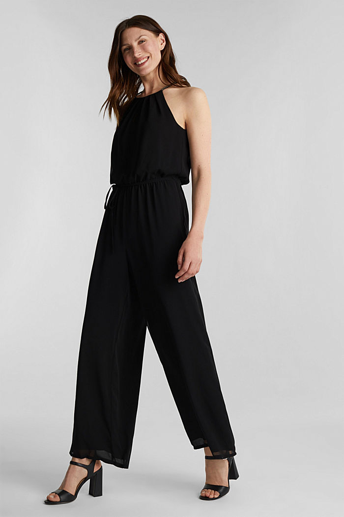 Recycled: chiffon jumpsuit, BLACK, detail image number 0