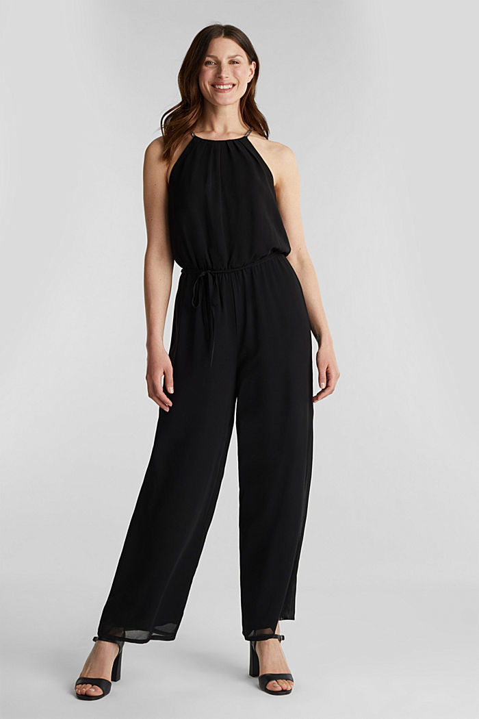 Recycled: chiffon jumpsuit, BLACK, detail image number 1