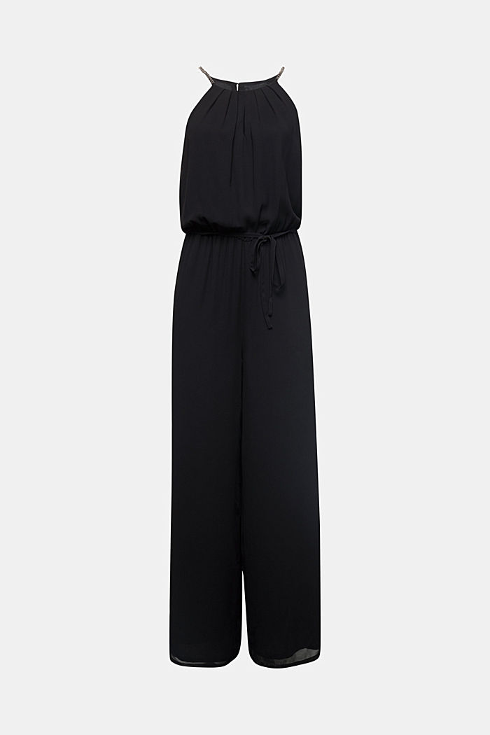 Recycled: chiffon jumpsuit, BLACK, detail image number 6