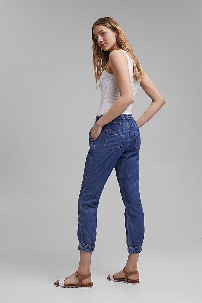 Z włókna TENCEL™/bawełny ekologicznej: spodnie w joggingowym stylu, BLUE MEDIUM WASHED, detail image number 3