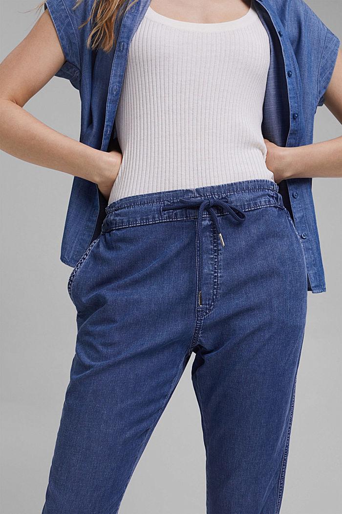 Z włókna TENCEL™/bawełny ekologicznej: spodnie w joggingowym stylu, BLUE MEDIUM WASHED, detail image number 2