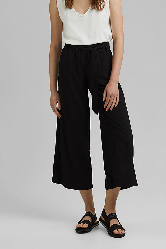 Flowing culottes with a tie-around belt, BLACK, detail image number 0