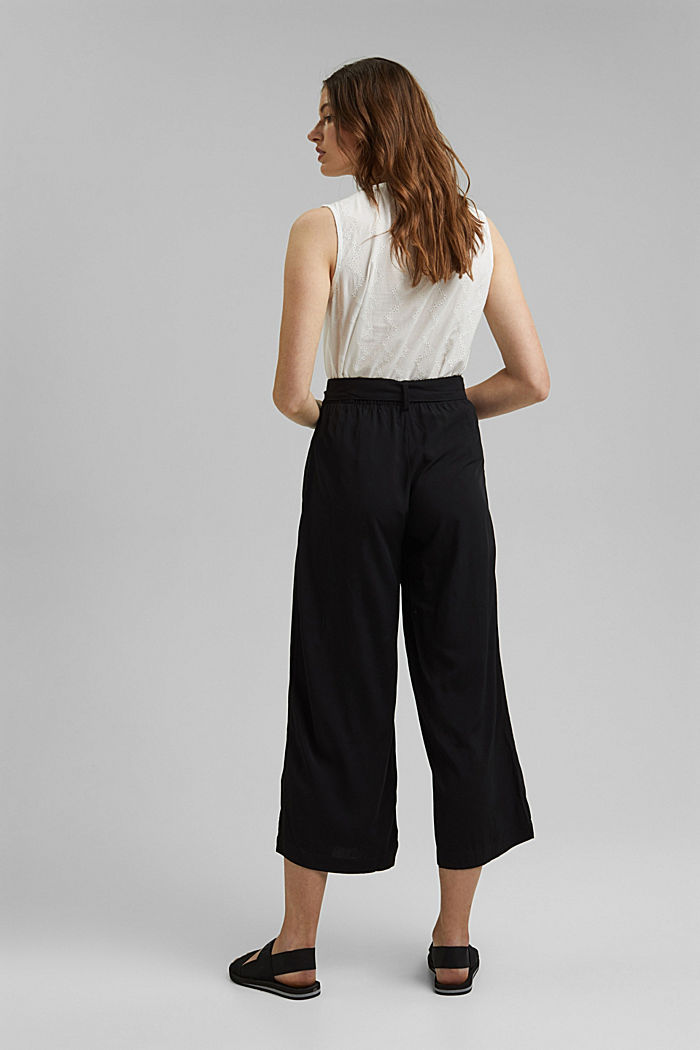 Flowing culottes with a tie-around belt, BLACK, detail image number 3
