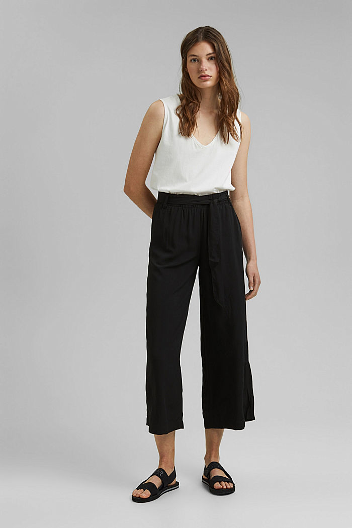 Flowing culottes with a tie-around belt, BLACK, detail image number 1