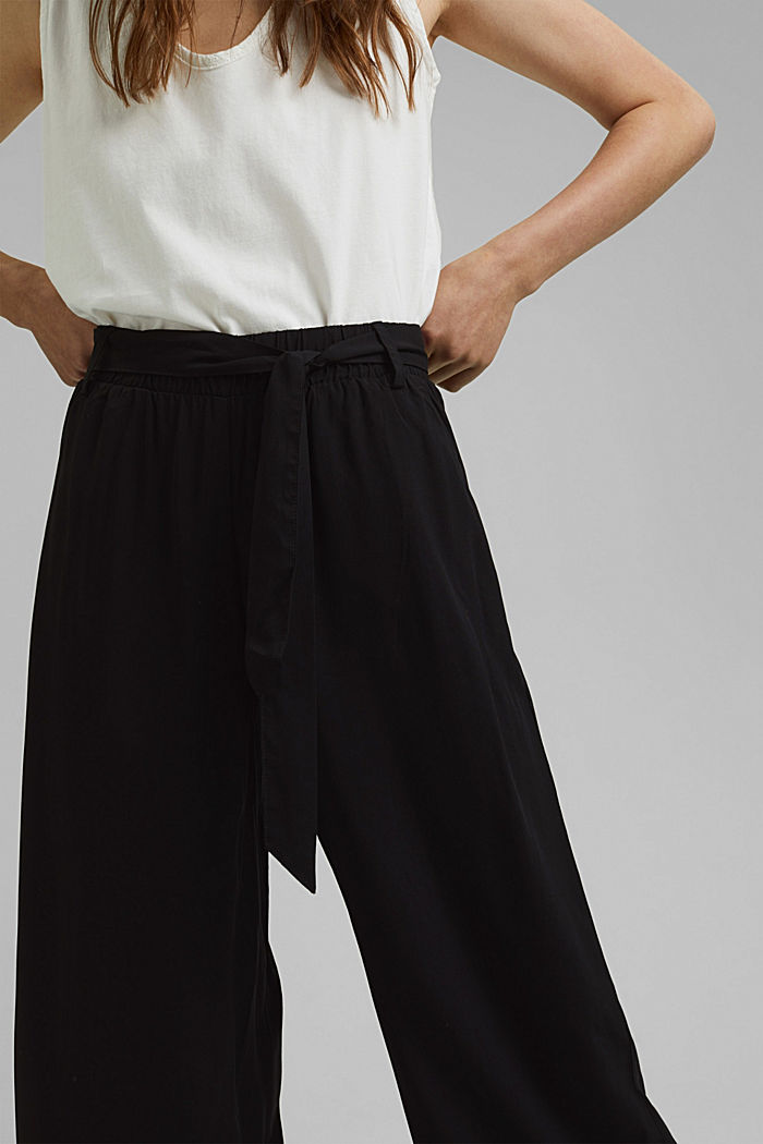Flowing culottes with a tie-around belt, BLACK, detail image number 2