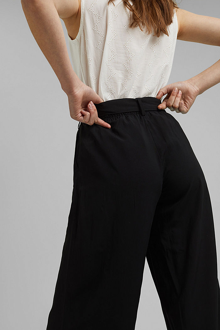 Flowing culottes with a tie-around belt, BLACK, detail image number 5
