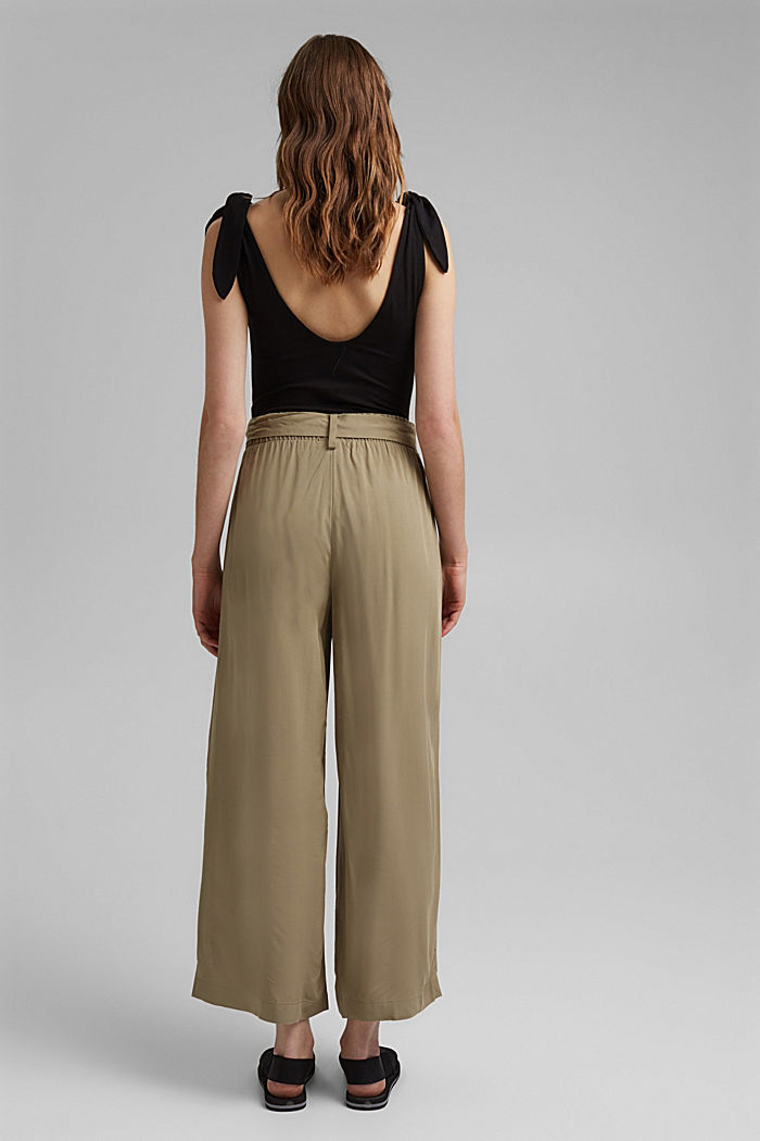 Flowing culottes with a tie-around belt, LIGHT KHAKI, detail image number 3