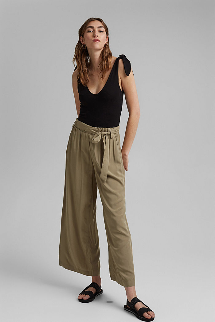 Flowing culottes with a tie-around belt, LIGHT KHAKI, detail image number 1