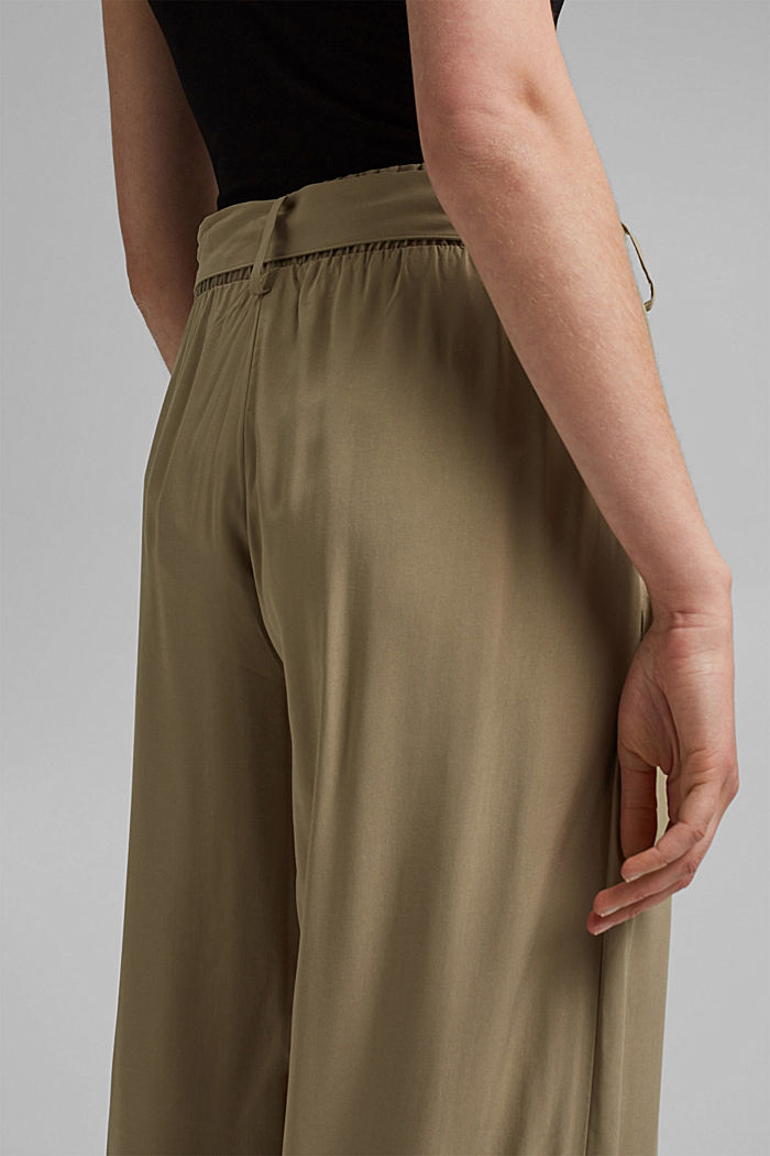 Flowing culottes with a tie-around belt, LIGHT KHAKI, detail image number 5