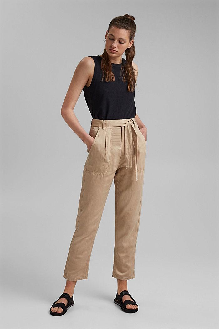 Con TENCEL™: pantaloni chino stile utility, BEIGE, detail image number 1