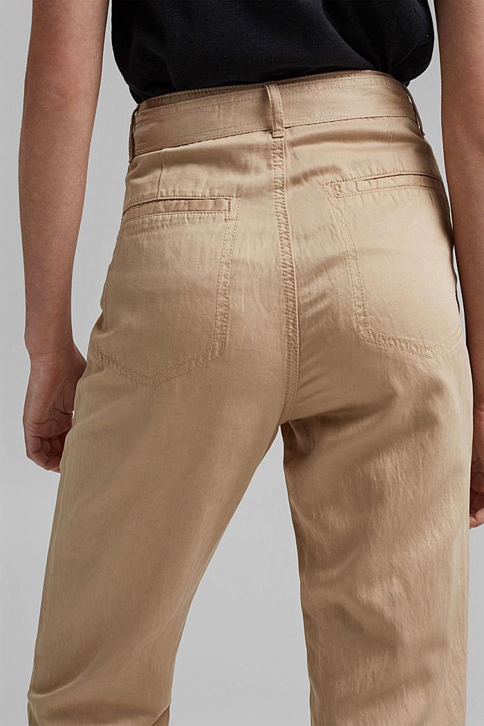 Con TENCEL™: pantaloni chino stile utility, BEIGE, detail image number 5