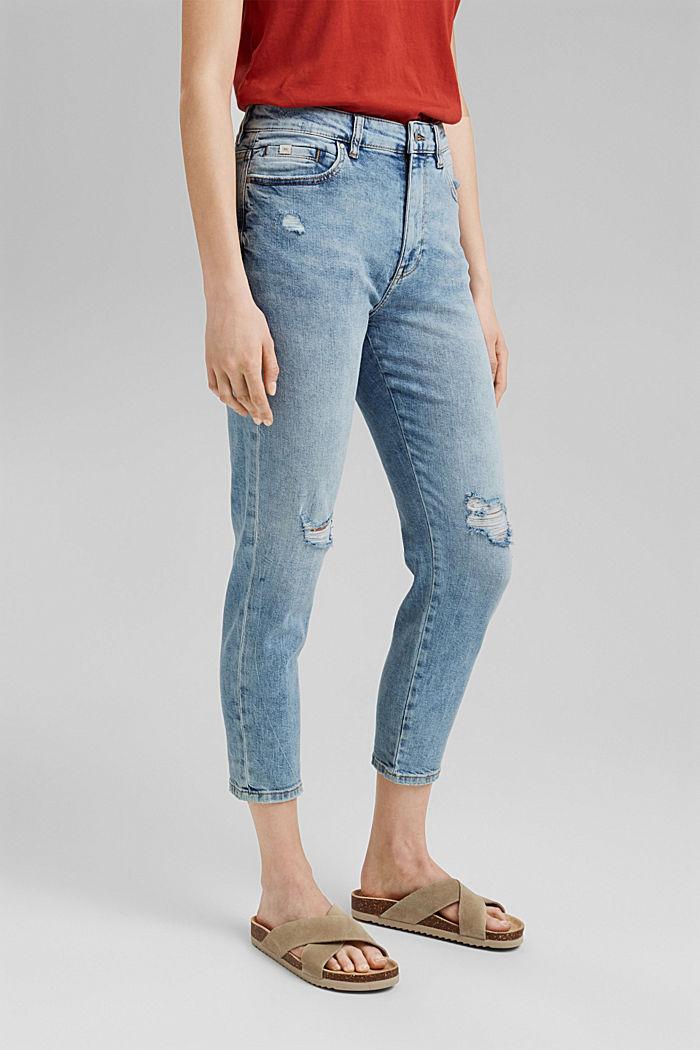 Destroyed 7/8-Jeans aus Bio-Baumwolle, BLUE LIGHT WASHED, detail image number 0