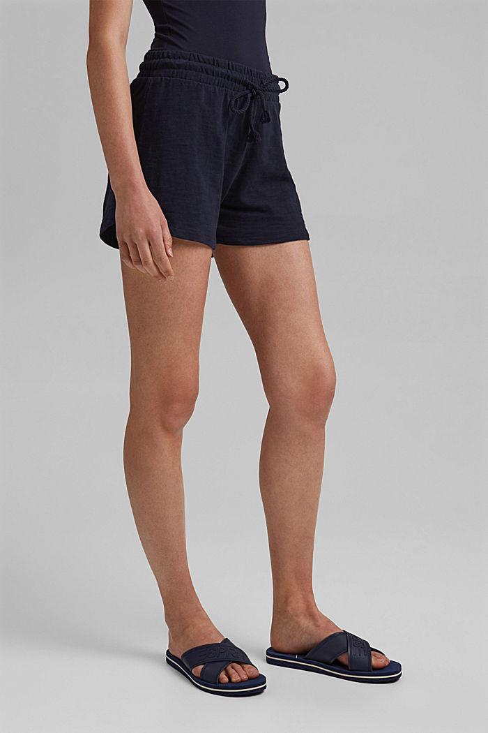 Žerzejové šortky ze 100% bio bavlny, NAVY, detail image number 0