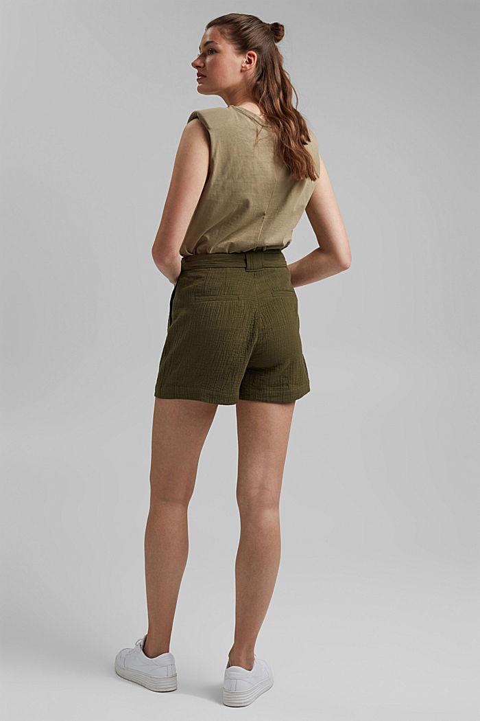 Short met een hoge tailleband van seersucker, 100% katoen, KHAKI GREEN, detail image number 3