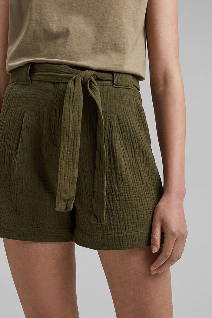 Short met een hoge tailleband van seersucker, 100% katoen