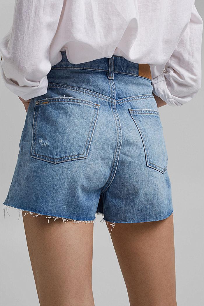 Džínové šortky s vysokým pasem, bio bavlna, BLUE LIGHT WASHED, detail image number 5
