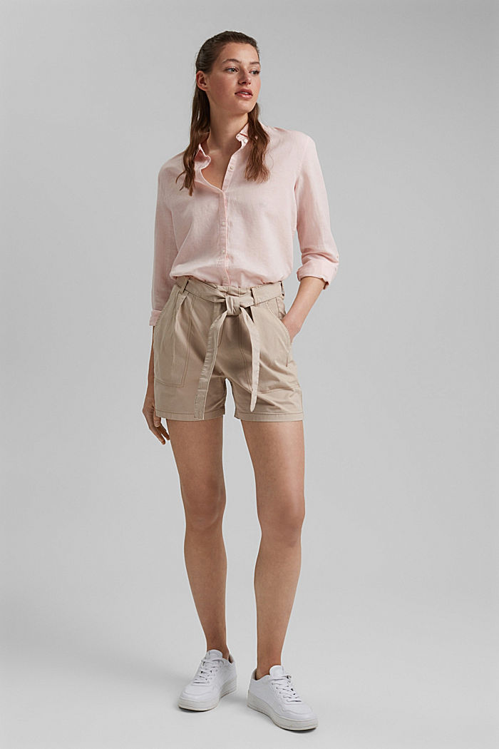 High-rise shorts with a belt, BEIGE, detail image number 1