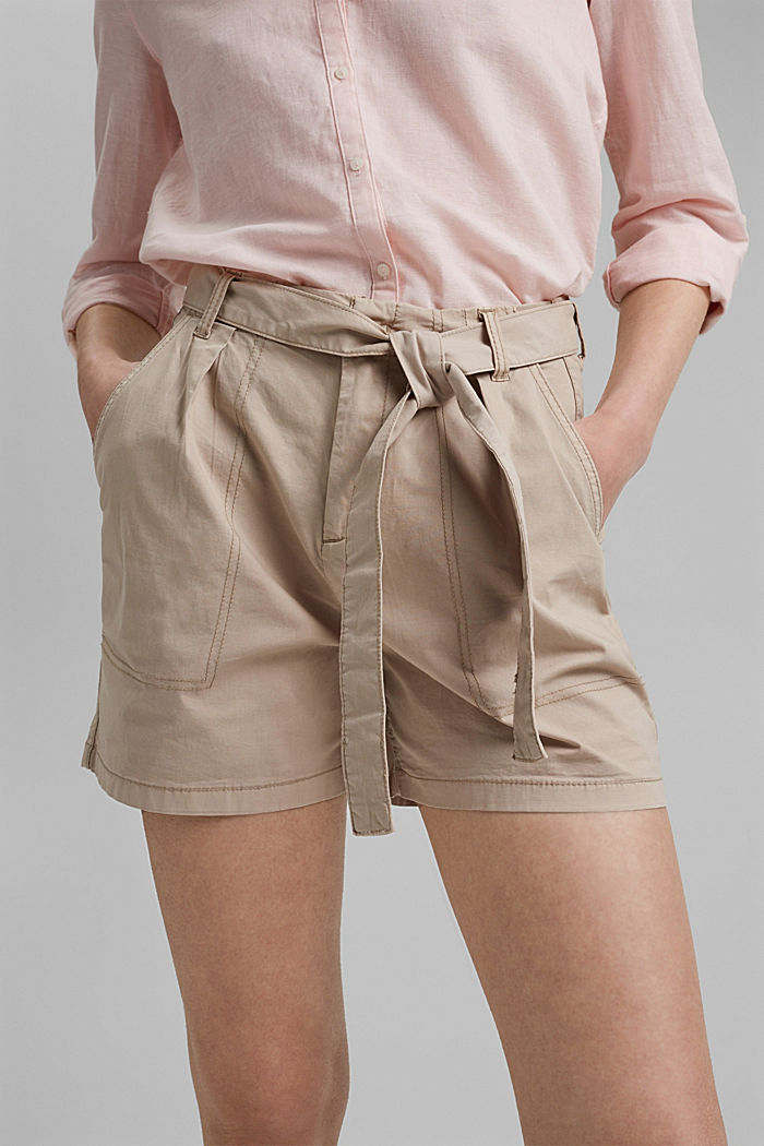 High-rise shorts with a belt, BEIGE, detail image number 2