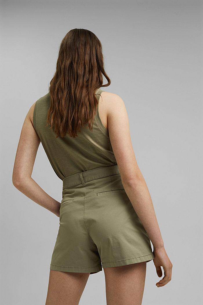 High-Rise-Shorts mit Gürtel, LIGHT KHAKI, detail image number 3